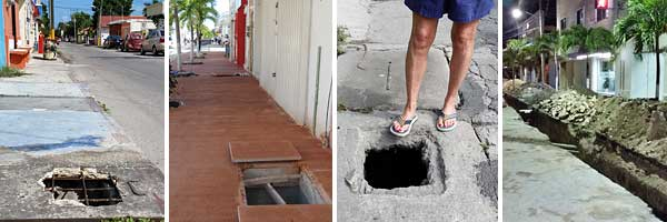 Holes in Cozumel streets